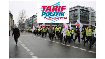 Tarifrunde 2018 Logo über Streikenden